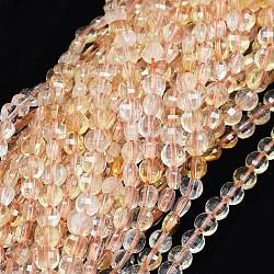 Природный цитрин бисер нитей, граненый, плоские круглые, 3.5~4x2.5 mm, отверстия: 0.7 mm; о 103 шт / прядь, 15.7 (40 см)(G-O180-28)