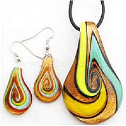 Handmade Gold Sand Lampwork Jewelry Set, Necklace and Earring, Teardrop, Colorful, Size: necklace pendant: about 32mm wide, 59mm long, earring pendant: about 14mm wide, 26mm long(X-LAMP-C1110-5)
