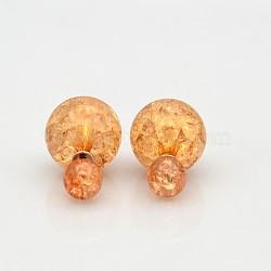 Горячей продажи девушки потрескивать стиле акриловые двусторонний шаровые уха шпильки, с фурнитурой платина железная, бежевые, мяч : 8 мм и 15 мм; пин : 0.5 мм(EJEW-O007-05G)