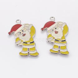 Pendentifs d'émail en alliage, sans plomb et sans cadmium, Père Noël, de couleur métal platine , jaune, Longueur 36mm,  largeur de 27 mm, épaisseur de 2mm, Trou: 2.5mm(X-EAP017Y-2)