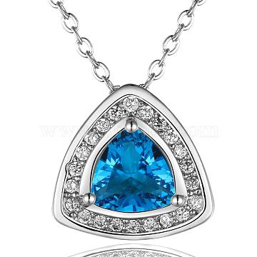 Real Platinum Plated Brass Cubic Zirconia Triangle Pendant Necklaces, Cadmium Free & Lead Free, Deep Sky Blue, 18 inches(NJEW-BB07872-P)