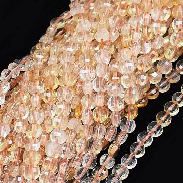 4mm Flat Round Citrine Beads