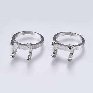 Alloy Finger Ring Claw Settings, Platinum, Tray: 13x8.5mm; 17.5mm(X-PALLOY-K143-18P)