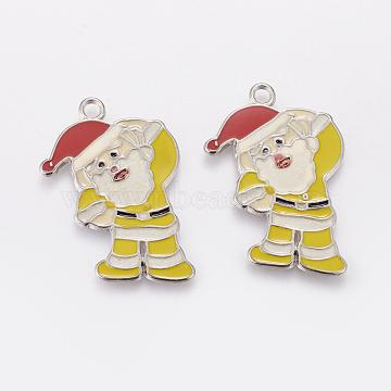 Alloy Enamel Pendants, Cadmium Free & Nickel Free & Lead Free, Christmas Santa Claus, Platinum Metal Color, Yellow, 36mm long, 27mm wide, 2mm thick, hole: 2.5mm(X-EAP017Y-2)