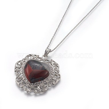 Natural Bloodstone Pendant Necklaces(NJEW-P242-A11)-3