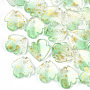Light Green Flower Glass Charms(X-GLAA-T017-05-B01)