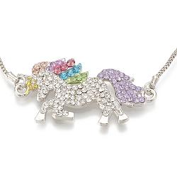 """Bracelets réglables d'alliage de bolo, glisser des bracelets de perles, avec strass et chaînes de fer, licorne, platine, colorées, 10-1/4"""" (26 cm), 1mm(BJEW-S124-19)"""