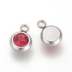 303 прелести из нержавеющей стали из горного хрусталя, плоские круглые, Light Siam, 8.5x6x3 mm, отверстия: 1.5 mm