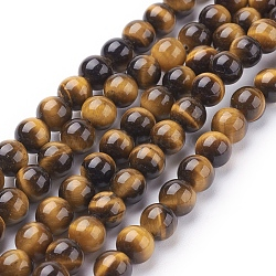 Natural Tiger Eye Beads Strands, Grade A, Dyed, Round, Goldenrod, 6mm, Hole: 1mm, about 60pcs/strand, 15inches