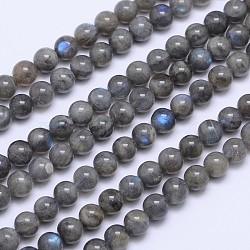 Natural Labradorite Round Bead Strands, 8mm, Hole: 1mm; about 48pcs/strand, 15.5inches(G-I156-01-8mm)