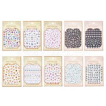 Flower and Butterfly Pattern Self Adhesive Nail Art Stickers, DIY Nail Art Decoration, Mixed Color, 104x80x0.2mm(AJEW-WH0109-82-M)