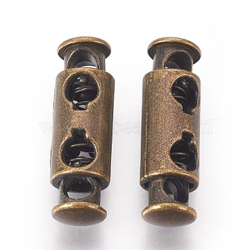 Alloy Spring Cord Locks, Antique Bronze, 27x8mm, Hole: 4mm(PALLOY-WH0027-07-AB)