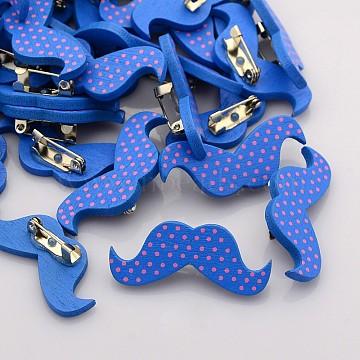Lovely Iron Back Bar Pin Polka Dot Printed Wood Mustache Brooches, Beard, Blue, 16x38mm, Pin: 0.6mm(X-JEWB-M003-02)