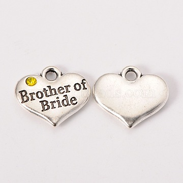 Wedding Party Supply Antique Silver Alloy Rhinestone Heart Carved Word Brother of Bride Wedding Family Charms, Cadmium Free & Lead Free, Citrine, 14x16x3mm, Hole: 2mm(X-TIBEP-N005-27A)