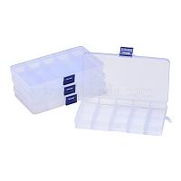 Conteneurs de stockage de perles en plastique, boîte de séparation réglable, 15 amovibles compartiments, rectangle, clair, 19x10.2x2.2 cm