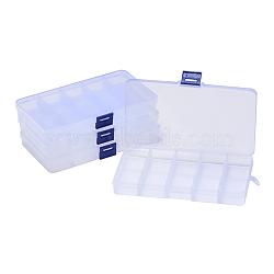 Conteneurs de stockage de perles en plastique, boîte de séparation réglable, 15 amovibles compartiments, rectangle, clair, 19x10.2x2.2 cm(X-CON-Q026-02A)