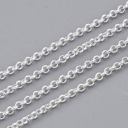 chaînes rolo en laiton soudé, avec bobine, plaqué argent, 1.8x0.6 mm(X-CHC-S008-002G-S)