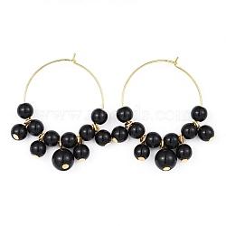 charmes de verre de vin, avec des perles de verre et des créoles en laiton, or, noir, 42.5~43x36~37.5x8 mm, pin: 0.6 mm(EJEW-JE03184-03)
