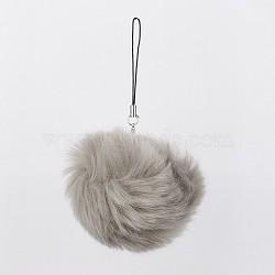 pom pom ball мобильные ремни, с поддельными волосами кролика, светло-серый, 115 mm(MOBA-G065-A07)