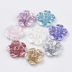 cabochons imitation perles de résine, paramètres de strass, fleur, couleur mélangée, s'adapter pour 2 mm strass; 16x17x5 mm(X-CRES-S304-49)