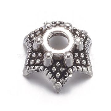 50pcs 8mm Tibetan Silver Bead Caps Flower Alloy Metal Beads Jewelry Findings