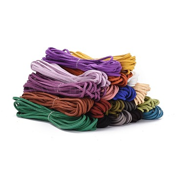 Flat Faux Suede Cord, Faux Suede Lace, Mixed Color, 2.5x2mm, about 5.46 yards(5m)/strand(LW-WH0005-M)