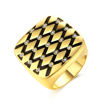Trendy Brass Cubic Zirconia Finger Rings, Wide Band Rings, Grid Pattern, Clear, Golden, US Size 8(18.1mm)(RJEW-BB39463-G-8)