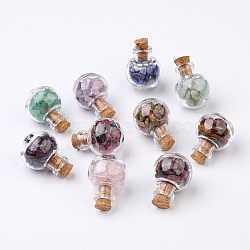 Glass Wishing Bottle Decorations, with Gemstone Chips Inside and Cork Stopper, Mixed Color, 28x20mm, 10pcs/set(AJEW-JD00005)