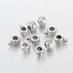 tibétains cintres d'argent liens, renflouer perles, tambour, sans plomb, diamètre intérieur: sans cadmium, argent antique, sur 8 mm de diamètre, 5.5 mm de long, trou: 2 mm, diamètre intérieur: 3.5 mm(X-AB700)
