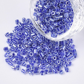 8/0 Two Cut Glass Seed Beads, Hexagon, Transparent Inside Colours Rainbow & Luster, Royal Blue, 2.5~3x2.5mm, Hole: 0.9mm; about 15000pcs/bag(SEED-S033-10A-02)