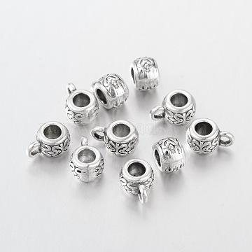 Tibetan Silver Hangers Links, Bail Beads, Drum, Lead Free, Inner Diameter: Cadmium Free, Antique Silver, about 8mm in diameter, 5.5mm long, Hole: 2mm, Inner Diameter: 3.5mm(X-AB700)