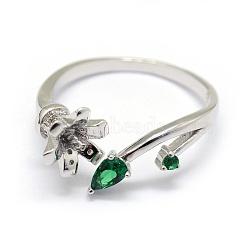 Composants de bagues en 925 argent sterling, pour la moitié de perles percées, avec zircons, fleur, verte, platine, taille 7, 17 mm; plateau: 4 mm, pin: 0.7~1 mm(STER-P042-26P)