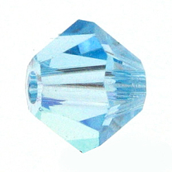 Perles de verre tchèques, facette, Toupie, lt.skyblue, 6 mm de diamètre, Trou: 0.8mm, 144 pcs / brut(302_6mm202)