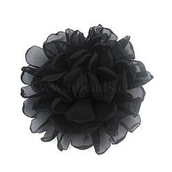 Lace Flower Alligator Hair Clips, with Iron Alligator Clips, Platinum, Black, 100mm(OHAR-Q253-12)