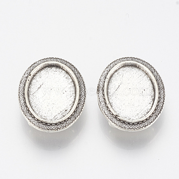 Antique Silver Oval Alloy Slide Charms