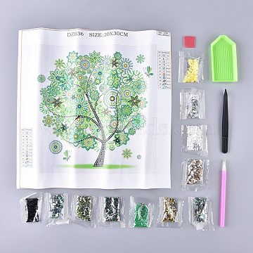 5D DIY Diamond Painting Stickers Kits For Kids, with Diamond Painting Stickers, Resin Rhinestones, Diamond Sticky Pen, Tweezers, Tray Plate and Glue Clay, Tree, Mixed Color, 35x35cm(DIY-R076-011)