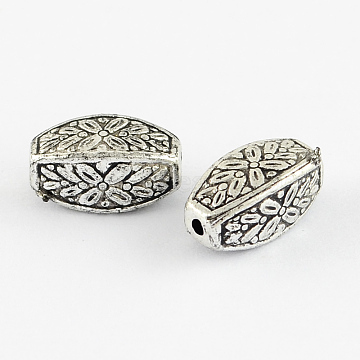 Rectangle Antique Acrylic Beads, Antique Silver, 13x7x7mm, Hole: 2mm(X-PACR-S209-07AS)