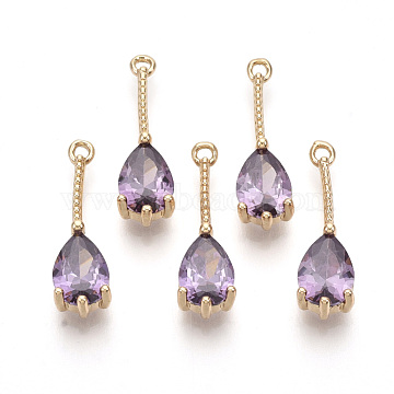 Transparent Glass Pendants, with Golden Tone Brass Findings, Faceted, Teardrop, Violet, 18x5x4mm, Hole: 1mm(X-GLAA-R212-13C)