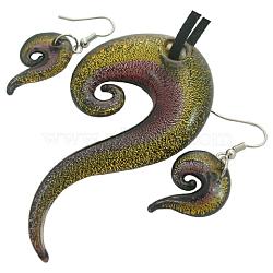 Kits bijoux en verre feuille d'argent faits à la main, collier: environ 42 mm de large, Longueur 76mm, Trou: 6mm, boucle d'oreille: 18 mm de large, Longueur 26mm, Trou: 2mm(X-SLSP366J-5)