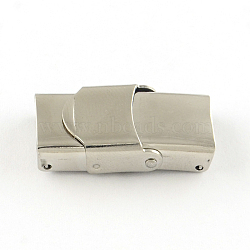 Surface lisse fermoirs de bande de montre 201 en acier inoxydable, couleur inoxydable, 25x7x6mm, Trou: 5x3mm(X-STAS-R063-65)