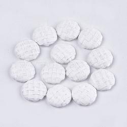 Cabochons tressés à la main, avec fond en aluminium, plat rond, platine, blanc, 17.5~18x4.5mm(X-WOVE-S119-05A-01)