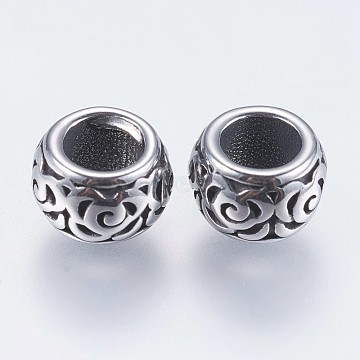 304 Stainless Steel European Beads, Large Hole Beads, Rondelle, Antique Silver, 7.5x5mm, Hole: 4mm(STAS-F195-094AS)