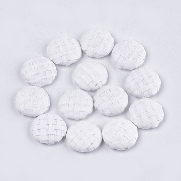 Handmade Straw Woven Cabochons, with Aluminum Bottom, Flat Round, Platinum, White, 17.5~18x4.5mm(X-WOVE-S119-05A-01)