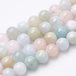 perles naturelles morganite brins, arrondir, 6x6 mm, trou: 1 mm; environ 62 perle / brin, 15.5(G-S150-53-6mm)