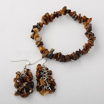Gemstone Jewelry Sets: Earrings & Bracelets, with Brass Earrings Hooks, Platinum, Tiger Eye, 50mm, 53mm(SJEW-JS00707-02)