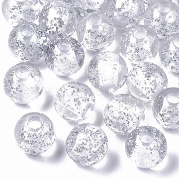 Transparent Clear Resin European Beads, with Silver Foil, Large Hole Beads, Round, Silver, 20x19mm, Hole: 6mm(RESI-N022-04A)