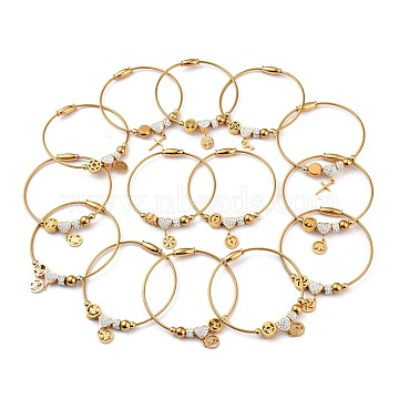 304 Stainless Steel European Bracelets, with Polymer Clay Crystal Rhinestone and Magnetic Clasps, Mixed Shapes, Golden, Inner Diameter: 2-3/8 inches(6.2cm)(BJEW-H531-16G)