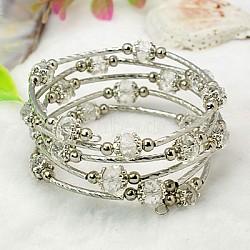 Bracelets enroulés à la mode, avec des perles de verre rondelles, Coupelles de style tibétain , laiton perles de tubes et de fils d'acier de la mémoire, clair, diamètre intérieur: 55 mm(X-BJEW-JB00628-01)