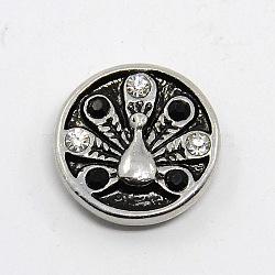 Zinc boutons alliage de strass, Grade a, plat rond avec boutons pression de bijoux de paon, sans plomb et sans nickel, argent antique, jet, 19.5x6mm, Bouton: 5 mm(SNAP-G001-31A-FF)