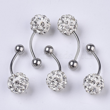 Stainless Steel Body Jewelry, Belly Rings, with Polymer Clay Rhinestones, Round, Crystal, 25~29.5x10mm, Pin: 1.2mm; PP11(1.7~1.8mm)(AJEW-T007-01K)